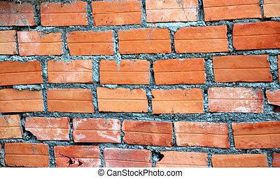 1 Orange brick wall with layers of cement mortar