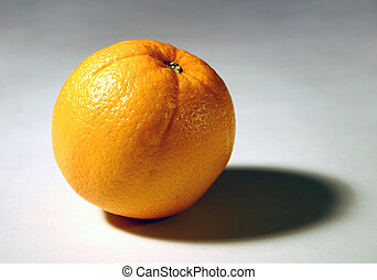 1 orange - Isolated orange close-up.