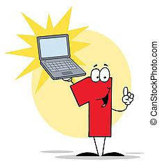 1, ordinateur portable, caractère, nombre, tenue