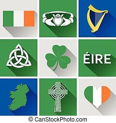 1, płaski, komplet, irlandia, ikona