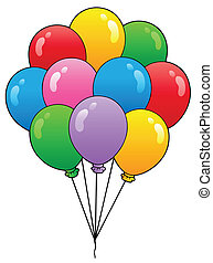 1, palloni, gruppo, cartone animato