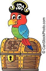 1, papagaio, tesouro, topic, peito, pirata