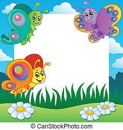 1, papillons, cadre, thème