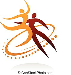 1, pareja, -, bailando
