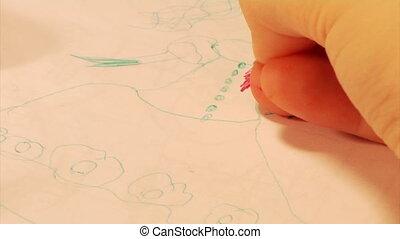 1, partie, dessin, enfant