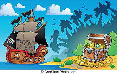 1, peito, tesouro, tema, pirata