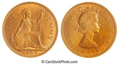 1, penny, 1965, mynt, isolerat, vita, bakgrund,...
