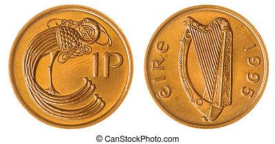 1, penny, 1995, mynt, isolerat, vita, bakgrund, irland
