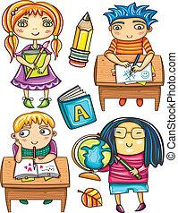 1, pequeno, grupo, schoolchildren