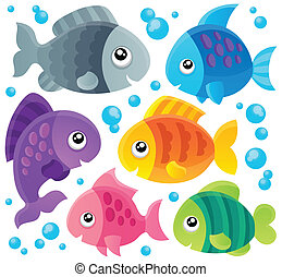 1, pez, tema, colección