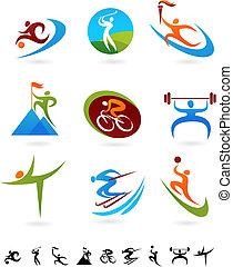 1, -, pictogram, sporten, verzameling