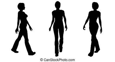 1, pieszy, kobieta, -, sylwetka