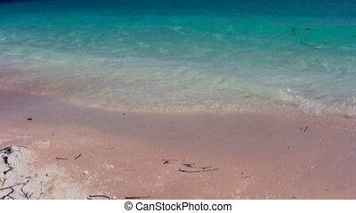 1, plage, sablonneux, vagues
