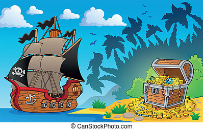 1, poitrine, trésor, thème, pirate