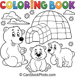 1, polaire, thème, livre coloration