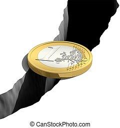 1, pont, sur, euro, abîme
