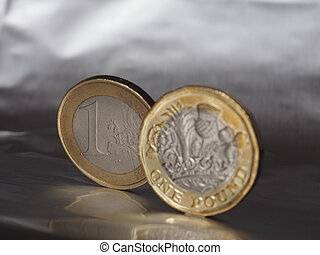 1 pound and 1 euro coin over metal background - 1 pound and ...