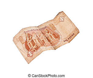 1 pound bill of Egypt isolated on white