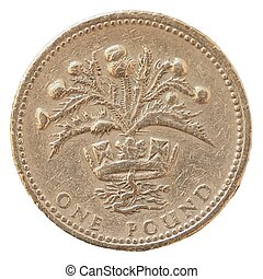 1 pound coin money (GBP), currency of United Kingdom
