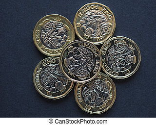 new 1 pound coin money (GBP), currency of United Kingdom