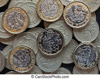 new and old 1 pound coin money (GBP), currency of United Kingdom