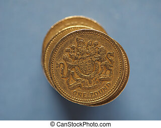 1 pound coin, United Kingdom over blue with copy space - 1 ...