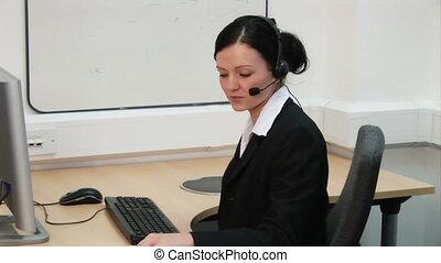 1, -, pracujące biuro, kobieta