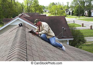 1, pracujący, dach