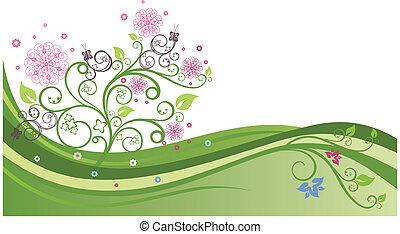 1, printemps, champ vert