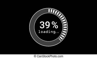1, progrès, 100, preloader, ou, formulaire, percentage., cercle, -, icône, noir, chargement, arrière-plan., barre, lignes blanches, download., clignotant, téléchargement