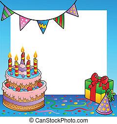 1, quadro, aniversário, tema