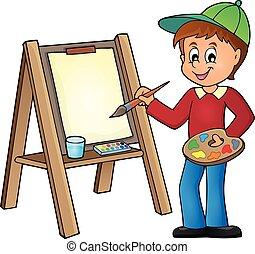 1, ragazzo, tela, pittura