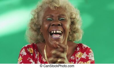 1 Real People Portrait Funny Elderly Woman Hispanic Lady Laughing