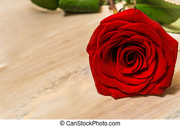 1 red rose lying on a wooden table