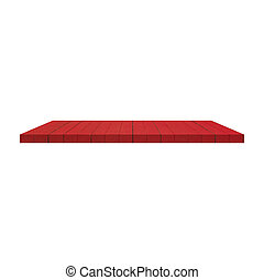 1 Red Wood Shelves Table isolated on white background