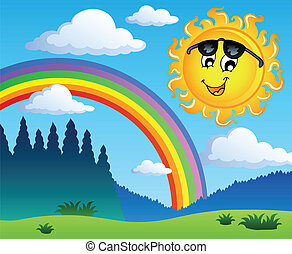 1, regenboog, landscape, zon
