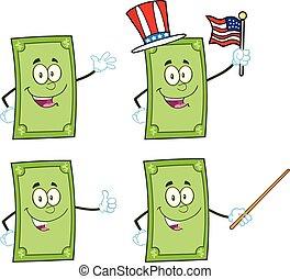1, rekening, dollar, karakters, verzameling