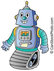 1, retro, robot, rysunek