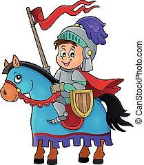 1, riddare, häst, tema, avbild