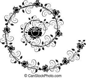 1, rosas, flourishes, vetorial