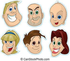 #1, rosto, sorrindo, magnet/stickers, refrigerador