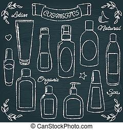1, sæt, flasker, chalkboard, kosmetik
