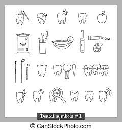 1, SÍMBOLOS, parte, jogo, odontologia