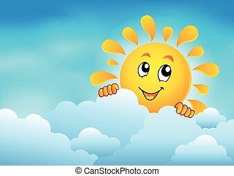 1, słońce, niebo, pochmurny, przyczajony
