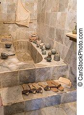 (1), salle bains, vieux, marbre