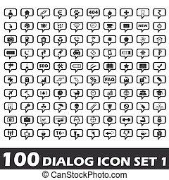 1, satz, dialog, ikone