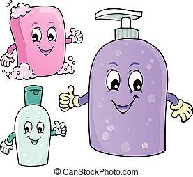 1, savon, image, hygiène, thème