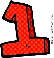 1, scarabocchiare, cartone animato, numero