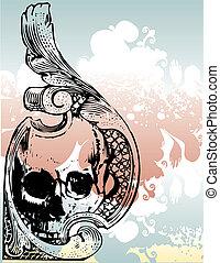 1, schedel, illustratie, sierlijk