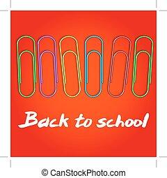 1, school., colorato, september., fondo, indietro, clip, vettore, field., carta, parole, composizione, rosso, illustration.
